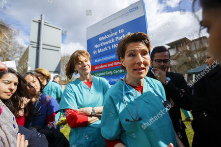 Cast of 'Green Wing' Pippa Haywood and Tamsin Greig join junior doctors on the picket line at Northwick Park Hospital