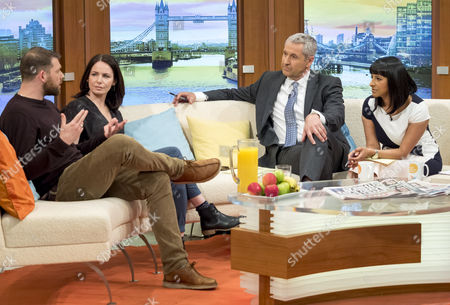 Stock Photo of Chris Coghill and Clare Calbraith with Mark Austin and Ranvir Singh