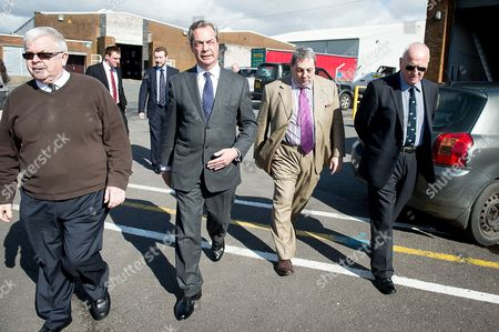 Nigel Farage with Douglas Watters, director of Sanquhar Tile Services, Dumfries and Galloway and David Coburn