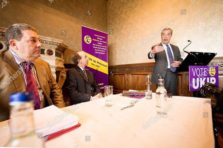 Nigel Farage at the B&B Club in Edinburgh with David Coburn, left and Kevin Newton, centre