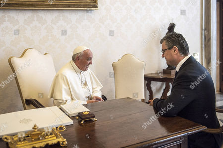 Pope Francis with the President of the Republic of Croatia, Tihomir Oreskovic