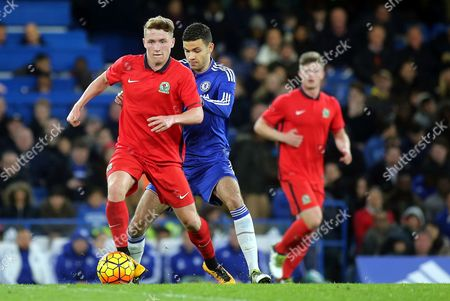 Lewis Hardcastle of Blackburn in possession as Chelsea's Isaac Christie Davies gets ready to make a challenge  during Chelsea Youth vs Blackburn Rovers Youth, FA Youth Cup Football at Stamford Bridge on 8th April 2016