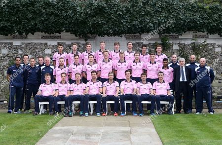 Middlesex Team Photo Back Row:- L-R Max Holden, Robbie White, Cameron Steel, George Scott, Martin Andersson, Stephen Eskinazi, Nathan Sowter, Ryan Higgins. Middle Row:- L-R Steve Sylvester (Psychologist), Dave Bartlett (Physio), Pete Waxman (Physio), Alex Fraser (Analyst), Richard Scott (Head Coach), Paul Stirling, Nick Gubbins, Ryan Higgins, Ollie Rayner, Tom Helm, James Fuller, Harry Podmore, Ravi Patel, Andy Mitchell (S&C Coach), Don Shelley (1st Team Scorer), Richard Johnson (Assistant Coach), Dave Houghton (Batting Coach). Front Row:- L-R Sam Robson, John Simpson, Nick Compton, James Franklin, Dawid Malan, Steven Finn, Tim Murtagh, Toby Roland-Jones in NatWest Blast T20 kit during the Middlesex CCC Press Day at Lord's Cricket Ground on 8th April 2016