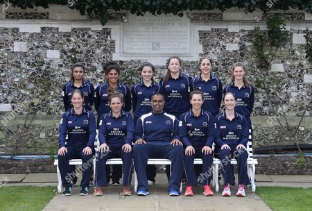 Middlesex Women Team Photo Back Row:- L-R Ria Raval, Naomi Dattani, Millie Pope, India Whitty, Maia Bouchier, Anna Nicholls. Front Row: L-R Holly Huddleston (Ocerseas), Isabelle Westbury (Captain), Sanjay Patel (Coach), Natasha Miles, Beth Morgan during the Middlesex CCC Press Day at Lord's Cricket Ground on 8th April 2016