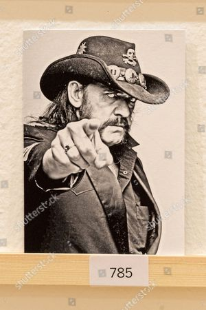 A postcard featuring Lemmy  of Motorhead on display at The Royal College of Arts(RCA) 22nd annual Stewarts Law RCA Secret exhibition of postcards designed by well-known artists and designers