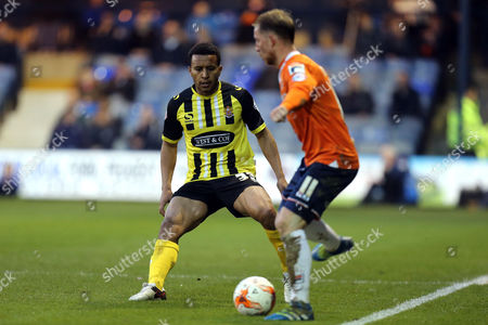 Danny Green of Luton Town and Joe Widdowson of Dagenham and Redbridge during Luton Town vs Dagenham and Redbridge, Sky Bet League 2 Football at Kenilworth Road on 12th April 2016