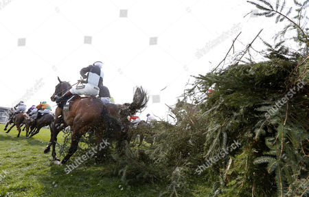 Village Vic and Richard Johnson (black and blue) survive the chair in The Crabbie's Topham Chase Aintree