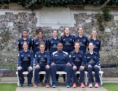 Middlesex Women Team Photo Back Row:- L-R Ria Raval, Naomi Dattani, Millie Pope, India Whitty, Maia Bouchier, Anna Nicholls.  Front Row: L-R Holly Huddleston (Ocerseas), Isabelle Westbury (Captain), Sanjay Patel (Coach), Natasha Miles, Beth Morgan. during Middlesex CCC Press Day at Lord's Cricket  Ground, London, Britain 08 April 2016