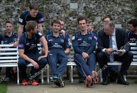 L-R Middlesex's Tim Murtagh, Middlesex's Steven Finn and Angus Fraser Director of Cricket during Middlesex CCC Press Day at Lord's Cricket  Ground, London, Britain 08 April 2016