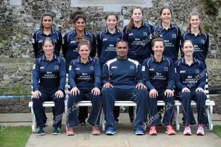 Stock Image of Middlesex Women Team Photo Back Row:- L-R Ria Raval, Naomi Dattani, Millie Pope, India Whitty, Maia Bouchier, Anna Nicholls.  Front Row: L-R Holly Huddleston (Ocerseas), Isabelle Westbury (Captain), Sanjay Patel (Coach), Natasha Miles, Beth Morgan. during Middlesex CCC Press Day at Lord's Cricket  Ground, London, Britain 08 April 2016