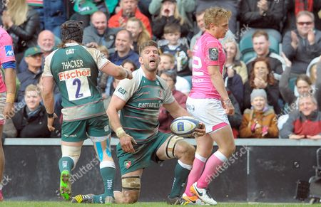 Leicester's Michael Fitzgerald celebrates his second half try