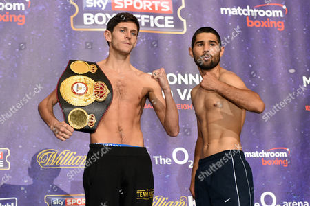 Jamie McDonnell (L) and Fernando Vargas during the Anthony Joshua vs Charles Martin Weigh-In at the O2 Arena on 8th April 2016