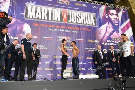 General view as Jamie McDonnell (L) and Fernando Vargas weigh in during the Anthony Joshua vs Charles Martin Weigh-In at the O2 Arena on 8th April 2016