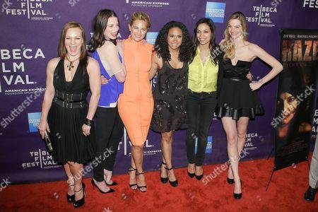 Cast of Raze - Allene Quincy, Rachel Nichols, Zoe Bell, Tracie Thoms, Rosario Dawson, and Nicole Steinwedell