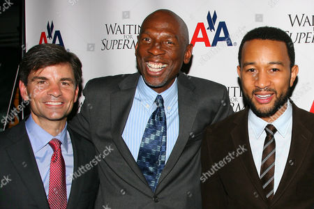 George Stephanopoulos, Geoffrey Canada (President & CEO of Harlem Children's Zone) and John Legend