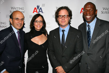 Joel Klein (NYC Schools Chancellor), Lesley Chilcott (Producer), Davis Guggenheim (Director) and Geoffrey Canada (President & CEO of Harlem Children's Zone)