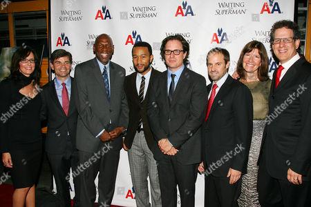 Lesley Chilcott, George Stephanopoulos, Geoffrey Canada, John Legend, Davis Guggenheim, Jeff Skoll, Diane Weyermann and Jim Burke
