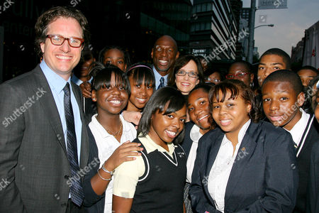 Davis Guggenheim (Director), Geoffrey Canada and Lesley Chilcott with students from Harlem Childrens' Zone