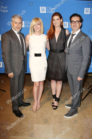 Stock Image of Ken Kaufman, Jane Krakowski, Debra Messing and Isaac Franco