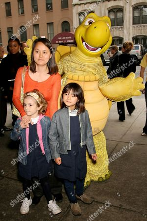 Soon Yi Previn with daughters Manzie Tio and Bechet and Verne the Turtle