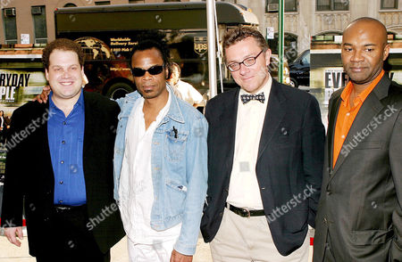 Stock Photo of Jordan Gelber and composer Marc Anthony Thompson with producers Caldecot Chubb and Nelson George