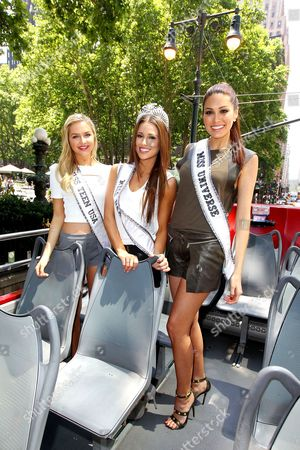 Stock Image of Cassidy Wolf (Miss Teen USA), Nia Sanchez (Miss USA 2014), Maria Gabriela Isler (Miss Universe)