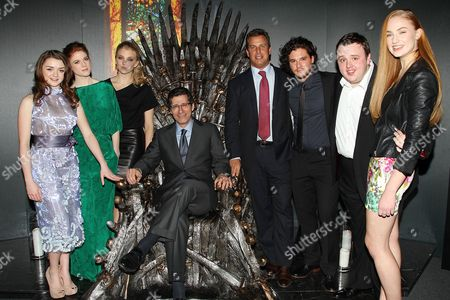 Maisie Williams, Rose Leslie, Natalie Dormer, Eric Kessler, Jeff Hirsch, Kit Harington, John Bradley, and Sophie Turner