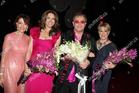 Evelyn Lauder, Elizabeth Hurley, Sir Elton John and Bette Midler