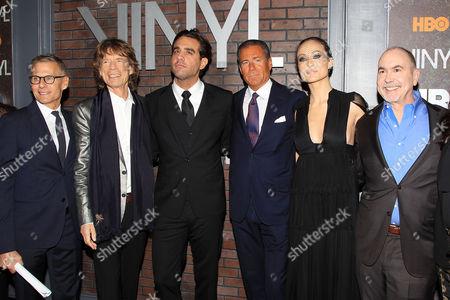 Michael Lombardo, Mick Jagger, Bobby Cannavale, Richard Plepler, Olivia Wilde, Terence Winter