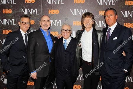 Michael Lombardo, Terence Winter, Martin Scorsese, Mick Jagger, Richard Plepler