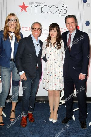 Mary Alice Stephenson, Tommy Hilfiger, Zooey Deschanel and Jeff Gennette, President of Macy's