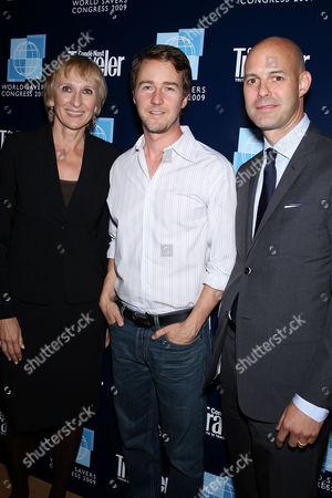 Klara Glowczewska (Editor-in-Chief of Conde Nast Traveler), Edward Norton and Chris Mitchell (VP and Publisher of Conde Nast Traveler)