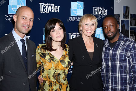 Chris Mitchell (VP and Publisher of Conde Nast Traveler), Mandy Moore, Klara Glowczewska (Editor-in-Chief of Conde Nast Traveler) and Wyclef Jean