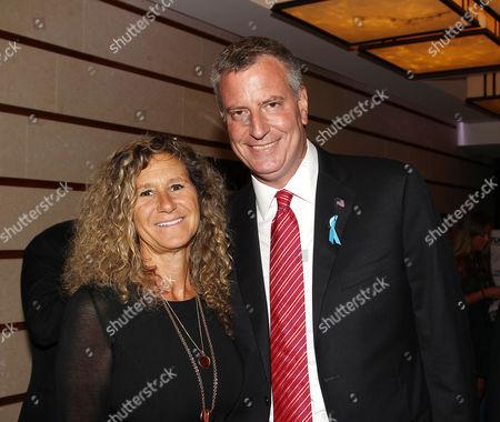 Stock Image of Edie Lutnick (Exec. Director; Cantor Fitzgerald Relief Fund) and Mayor Bill de Blasio