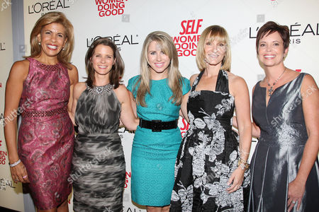 Stock Picture of Hoda Kotb, JJ Ramberg (Founder of GoodSearch.com) and Haley Kilpatrick (Founder of Girl Talk), Laura McEwen (VP and Publisher of SELF Magazine), Lisa Scarpinato (Founder of Kitchen on the Atreet)