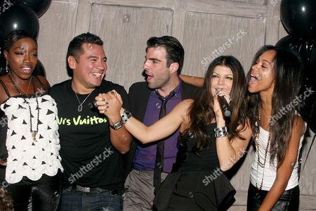 Estelle, Sean Patterson (President Wilhelmina Model), Zachary Quinto, Stacey 'Fergie' Ferguson and Zoe Saldana