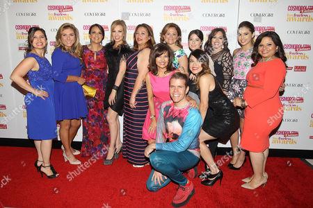 Donna Kalajian Lagani, Michelle Herrera Mulligan, Thalia, Perez Hilton with honorees