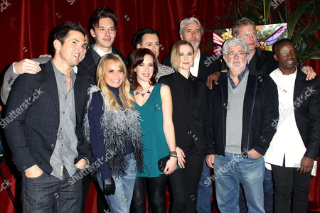George Lucas, Gary Rydstrom and Mark Miller with the Cast of 'St