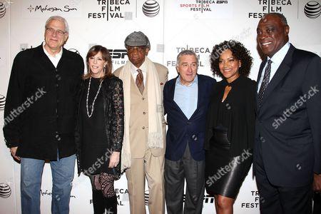 Phil Jackson, Jane Rosenthal, Dick Barnett, Robert De Niro, Grace Hightower and Cazzie Russell