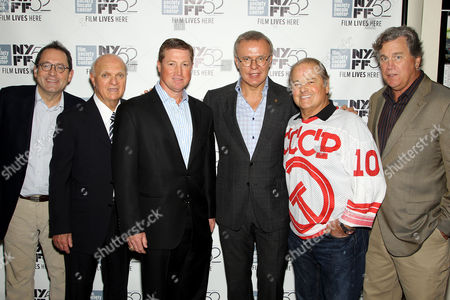 Michael Barker (SPC), Lou Lamoriello (GM NJ Devils), Doug Brown, Slava Fetisov, Rod Gilbert, Tom Bernard (SPC)