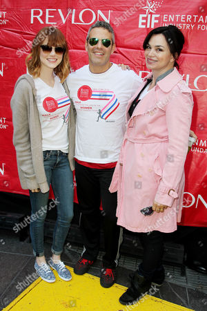 Emma Stone, Andy Cohen and Karen Duffy
