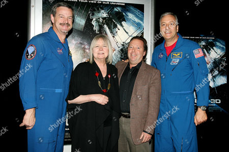 Commander Scott Altman; Toni Myers, Director; Richard Gelfond, IMAX CEO; and Mike Massimino, STS-125 Mission Specialist