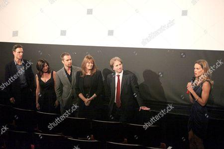 Tony Goldwyn, Pamela Gray, Sam Rockwell, Betty Anne Waters, Barry Scheck and Hilary Swank