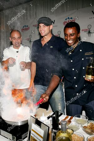 Andre Agassi, Andy Roddick and Marcus Samuelson