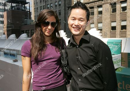 Vanessa Carlton and Danny Seo at the 'Call2Recycle' Fashion Week Re - Treat, which gives celebrities the chance to recycle an old mobile phone in exchange for upscale gifts.