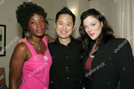 Yolonda Ross, Danny Seo and Kim Director at the 'Call2Recycle' Fashion Week Re - Treat, which gives celebrities the chance to recycle an old mobile phone in exchange for upscale gifts.