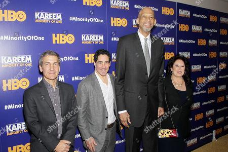 Stock Picture of Mike Tollin (Exec. Producer), Kenneth Hershman (Exec. Producer, Pres. HBO Sports), Kareem Abdul Jabbar, Deborah Morales (Producer)
