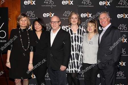 Laura Mitchelson, Caroline Suh (Director), Alex Gibney, Stacey Offman and Mark Greenberg (Pres & CEO; EPIX)