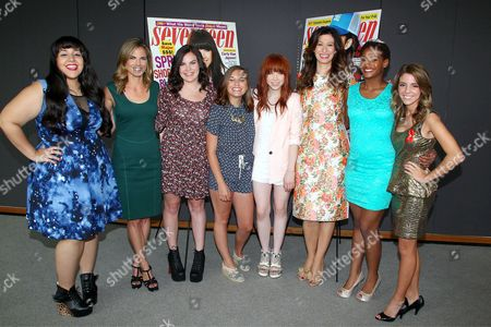 Stock Picture of Natalie Morales, Carly Rae Jepsen, Ann Shoket and finalists Paige Rawl, Kay-Ci Bele, Ant Roman, Stacey Ferreira, Paige McKenzie