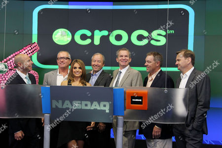 Editorial image of Crocs 10th Anniversary ringing of the NASDAQ Bell, New York, America - 31 Jul 2012